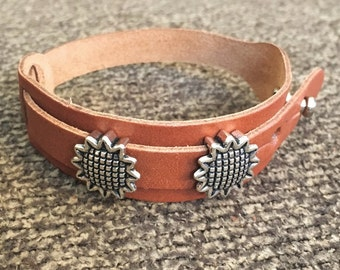 Boho Bracelet, Adjustable Button Snap Tan Leather Wrap Bracelet with Silver Sunflower Slider Charms, Sunflower Charm Bracelet, 50005