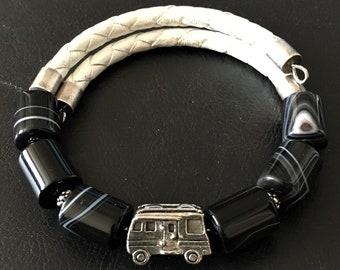 Class A Motorhome Bracelet, Black Sardonyx Bracelet, Motorhome Charm, Motorcoach Charm, RV Bracelet, Gift for RVer, Wrap Bracelet, 99017