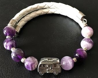 Class A Motorhome Bracelet, Amethyst Bracelet, Leather Bracelet, Motorhome Charm, Motorcoach Charm, Gift for RVer, Wrap Bracelet, 99020