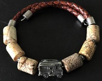 Class C Motorhome Bracelet, Picture Jasper Bracelet, Motorhome Charm, Motorcoach Charm, RV Bracelet, Gift for RVer, Wrap Bracelet, 99011