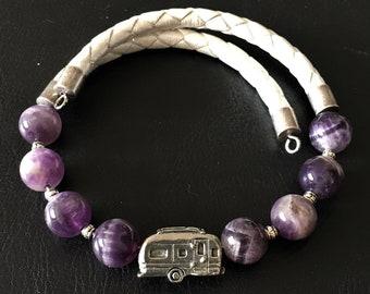 Airstream Bracelet, Amethyst Bracelet, Leather Bracelet, Camper Charm, Airstream Charm, Gift for RVer, Wrap Bracelet, 99004