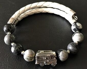 Class C Motorhome Bracelet, Black Silver Leaf Jasper Bracelet, Leather Bracelet, Motorhome Charm, Gift for RVer, Wrap Bracelet, 99012