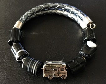 Class C Motorhome Bracelet, Black Sardonyx Bracelet, Motorhome Charm, Motorcoach Charm, RV Bracelet, Gift for RVer, Wrap Bracelet, 99009