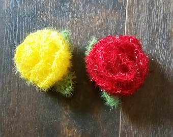 Rose kitchen scrubbies crochet great for cleaning pots and pans