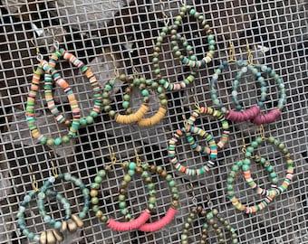 The {Desert Dreams} Earring collection. Beaded hoop & teardrop earrings.Handmade. Light weight. Turquoise. Simplicity
