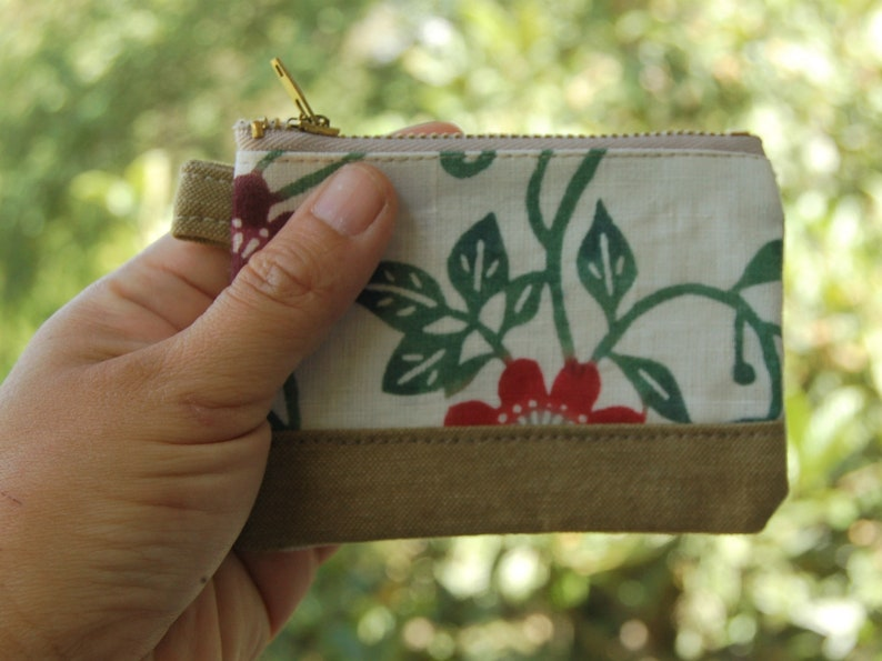 Hand-printed Coin case Clematis