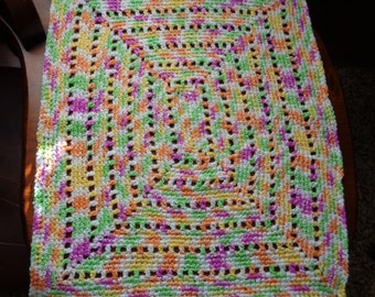 Crocheted Blanket For 15 Or 18 Inch Dolls Car Seat Baby Afghan