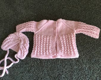 9-12 months hand knitted girl's sweater and hat