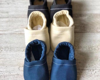 Solid Color Slippies | Navy baby shoes | Pink baby moccs | fabric baby shoes | Tan | Black