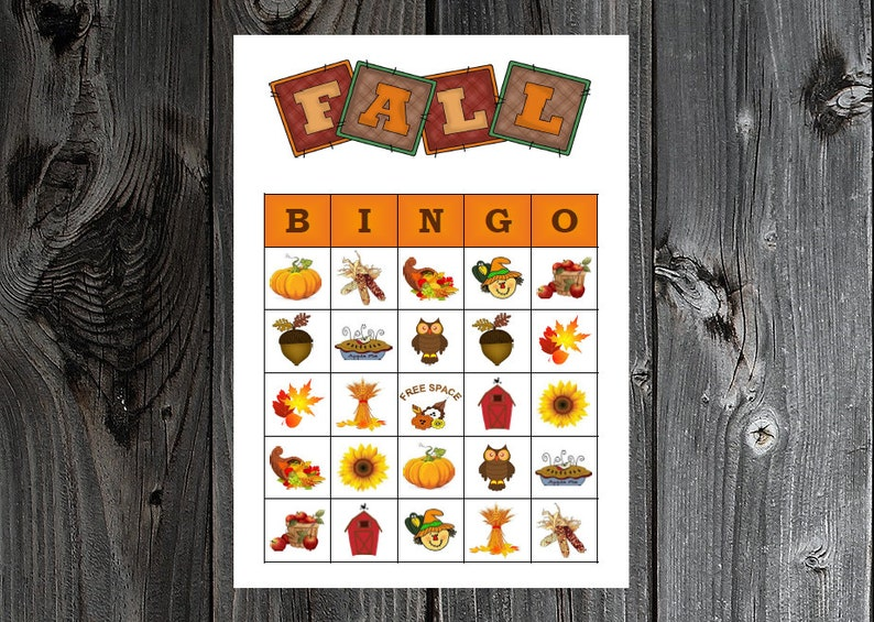 picture relating to Fall Bingo Printable identified as Slide Autumn Bingo 30 Printable Halloween Thanksgiving Bash Bingo Recreation Playing cards
