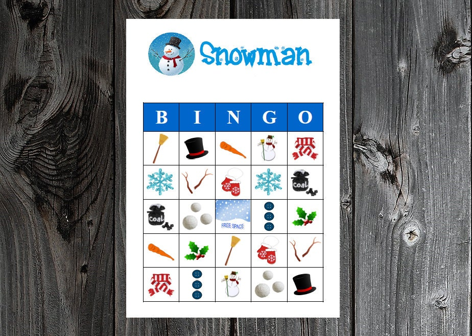 Snowman Winter Bingo 30 Printable Christmas Holiday Party Etsy