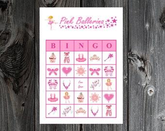 Pink Ballerina Bingo 30 Printable Girl Birthday Party Bingo Game Cards