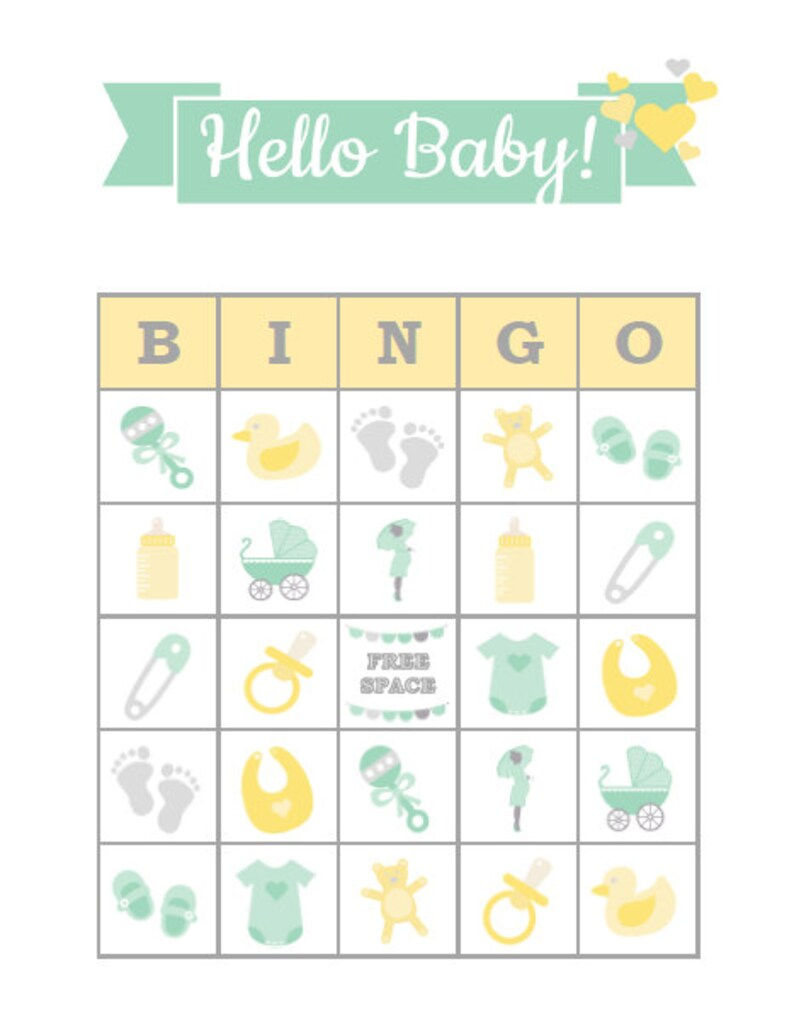 Baby Shower Bingo 30 Printable Baby Shower Party Bingo Game Cards Neutral Green Yellow