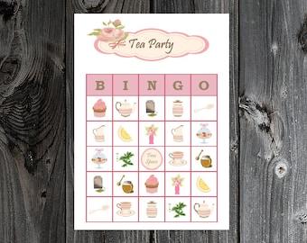 Tea Party Bingo 30 Printable Bingo Game Cards for Girls Birthday / Bridal Shower / Mothers Day