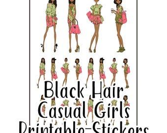 Black Hair Casual Girls Printable Stickers for Planners   Kikki K   Filofax   Happy Planner   Erin Condren