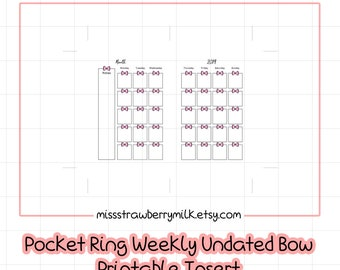 Pocket Ring Bow Undated Monthly Planner Insert Printable   Small Kikki K   Small Filofax   Pocket Ring   Personal Size   A6 Ring Planner