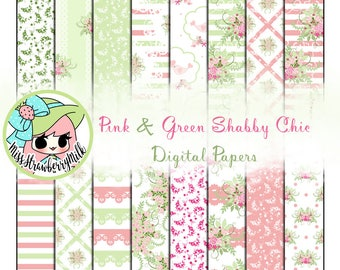 Pink and Green Shabby Chic Paper Pack | 16 Digital Papers | Digital Paper | Printable Paper | Scrapbooking | Floral | Cute | Baby