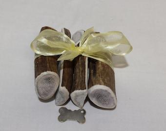 "Medium Elk Antler Combo Pack (2 ""split"" & 2 ""whole"" elk antler dog chews)"