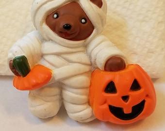 Vintage 1980s Halloween Mummy Pin, Mummy Pin, Halloween Pin, Teddy Bear Mummy Pin