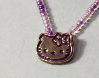 Hello Kitty Necklace, Hello Kitty Little Girl necklace, Hello Kitty