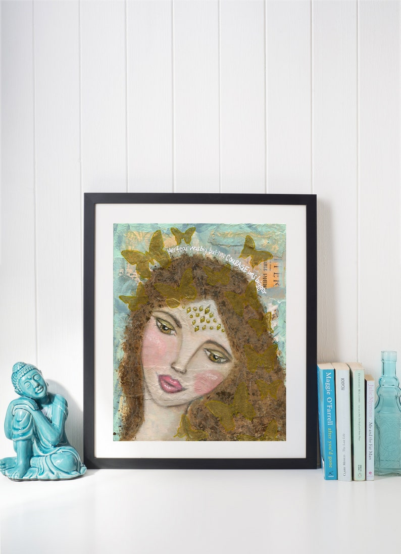 Embellished Art Print 8x10 Spiritual Gift Be Brave Wall Art image 1