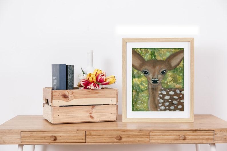 Deer Art Kids Room Nursery Forest Animal Gentle Soul image 0