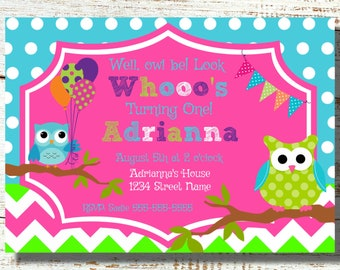 Items Similar To Owl Birthday Invitation Digital File