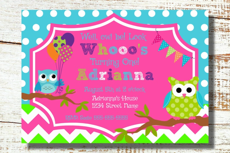 Owl Birthday Invitation Digital File