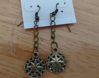 Brass compass rose earrings
