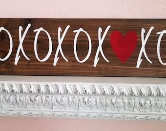 "XOXOXO sign on wood, 35 1/2"" x 7 1/2"" x 3/4"""