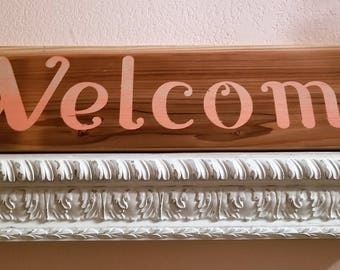"Welcome on Cedar board, 24"" x 5 1/2"" x 1/2"""