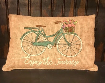 "Mini-burlap pillow, ""Journey"""