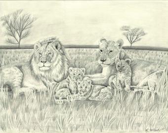 Lion Pride Portrait Print