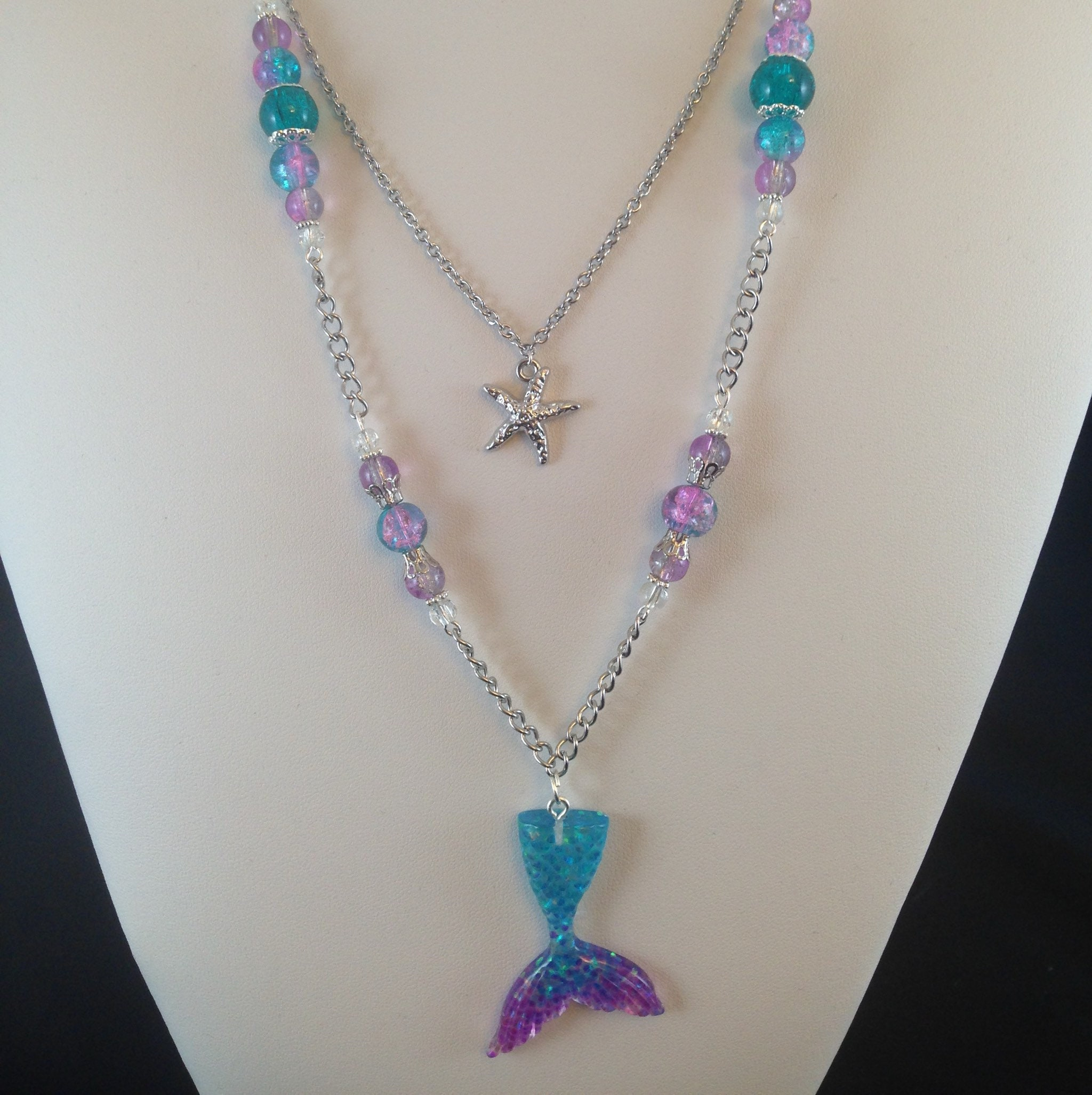 Handmade pink and purple resin pendant with stainless steel chain blue