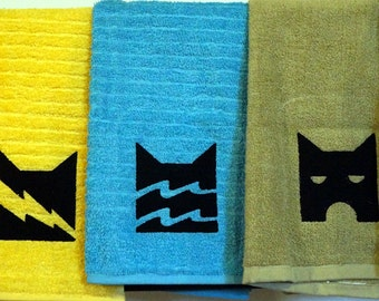 Warriors Cats Embroidered Hand Towels ThunderClan RiverClan ShadowClan WindClan StarClan Erin Hunter clan emblem yellow blue green white cat