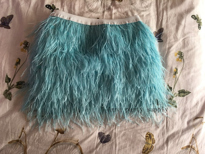 Light blue ostrich feather skirt for dancing showgirl party supply feather costume