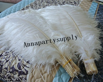 100 pcs white ostrich feather plume 5-24inches for wedding party supply wedding centerpiece