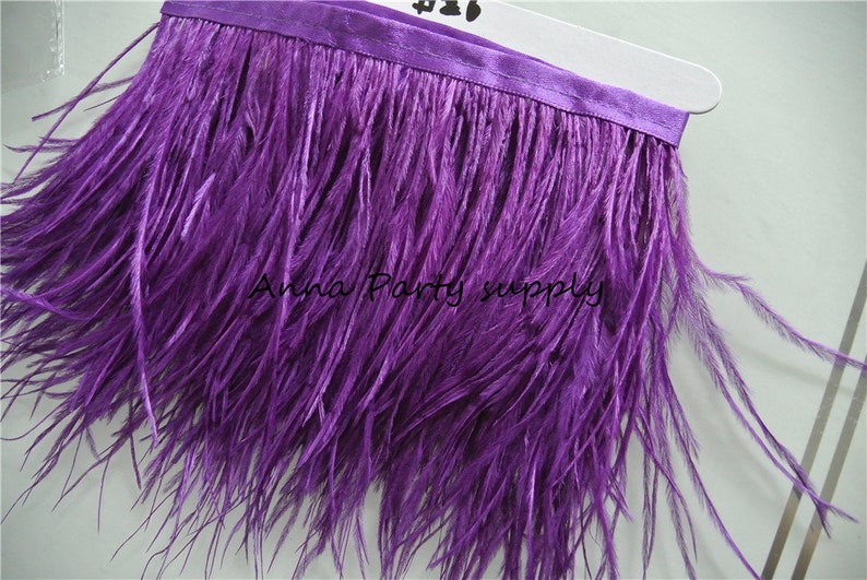 1 yard purple Ostrich feather fringe trim for sewing dress party supply #26