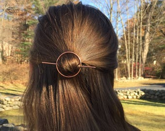 Copper Circle Stick Hair Clip- hair accessories pin minimalist barrette geometric stick boho yoga bridesmaid gift graduation gift for her