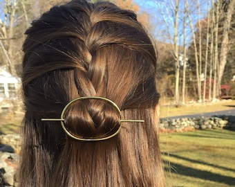 Brass Oval Hair Clip- hair slide hair stick hair pin barrette minimalist gold handmade accessories Mother's Day gift for her