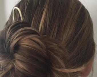 Minimalist Hammered Brass Hair Fork hair pin hair stick hair clip handmade boho hair accessories hand forged graduation gift bridesmaid gift