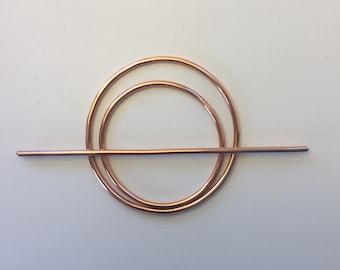 Copper Double Circle Hair Slide- hair stick, minimalist, metal hair jewelry, shiny, barrette, unique women's gift, statement piece, boho