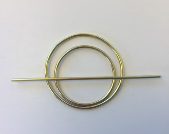 Brass Double Circle Hair Slide- hair stick, boho, minimalist, metal hair jewelry, shiny gold, barrette, unique womens gift, statement piece,