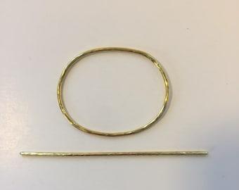 Hammered Brass Oval Hair Slide - gold hair clip, barrette, hair jewelry, modern, minimalist,  chic, hair accessories, simple, bun holder