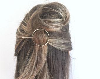 Silver Circle Stick Hair Clip- hair slide hair pin minimalist barrette geometric hair stick boho gift yoga gift for her graduation gift
