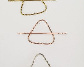 Textured Triangle Hair Slide- hair clip barrette boho geometric hair stick hair pin silver brass graduation gift for her yoga minimalist