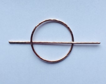 Hammered Copper Circle Hair Clip- hair slide hair stick minimalist geometric barrette bohemian graduation gift bridesmaid gift for her