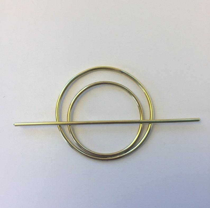 Brass Double Circle Hair Slide hair stick boho minimalist image 0