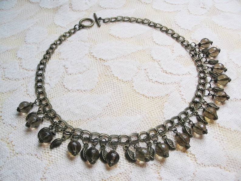 Smoky Quartz Necklace Ethnic Necklace Vintage Necklace Romantic Necklace Smoky Quartz Jewelry Wedding Jewelry Mother Gift FREE SHIPPING