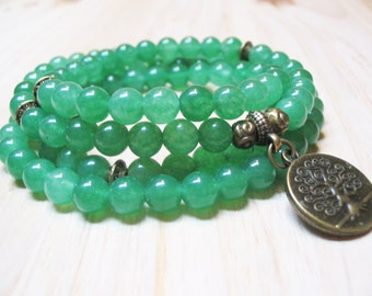 108 Mala Beads Aventurine Bracelet 108 Mala Necklace Tree of Life Bracelet Wrist Mala Yoga Necklace Meditation Bracelet Yoga Mala Gemstone